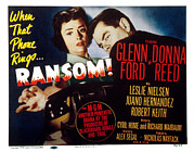 1956 Movies Framed Prints - Ransom, Donna Reed, Glenn Ford, 1956 Framed Print by Everett
