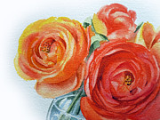 Roses Painting Posters - Ranunculus Poster by Irina Sztukowski