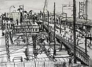 Train Station Drawings - Rapid Sketch of Flinders Street 2 by Richard Mclean