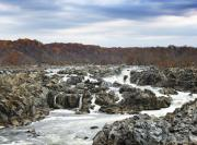 Great Falls Prints - Rapids at Great Falls Park in Autumn Print by Brendan Reals