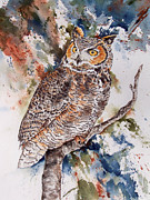 Colorful Owl Paintings - Raptor Splash - Great Horned Owl by Laura Rusciolelli