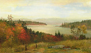 1869 Framed Prints - Raquette Lake Framed Print by Homer Dodge Martin