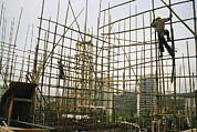 Workers Posters - Rare Bamboo Scaffolding Used In Hong Poster by Justin Guariglia