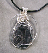 Grey Black Jewelry - RARE Double Trilobite Piggy-Back Pendant by Heather Jordan