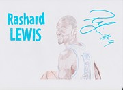 Nba Drawings Framed Prints - Rashard Lewis Framed Print by Toni Jaso