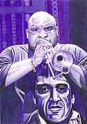 Trumpet Player Drawings - Rashawn Ross by Joshua Morton