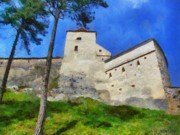 Gray Building Framed Prints - Rasnov Fortress Framed Print by Jeff Kolker