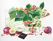 Raspberries Bushes In A Vase With Passion Fruit Print by Ayako Tsuge