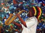 Rastafarian Framed Prints - Rasta Sax Player Framed Print by Anna-maria Dickinson