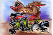 Custom Ford Drawings Metal Prints - Rat Mobile Metal Print by Big Mike Roate