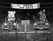 Rat Rod Painting Posters - Rat Race Black and Wht darker tones Poster by Leah Saulnier The Painting Maniac