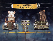 Humor Painting Prints - Rat Race darker tones Print by Leah Saulnier The Painting Maniac