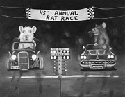 Rat Rod Painting Posters - Rat Race in Black and White Poster by Leah Saulnier The Painting Maniac