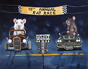 Cadillac Painting Posters - Rat Race Poster by Leah Saulnier The Painting Maniac