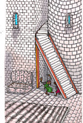 Staircase Drawings - Rathbone Tells All by Al Goldfarb