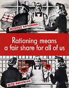 1940s Fashion Posters - Rationing Means A Fair Share For All Poster by Everett
