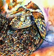 Serpent Paintings - Rattle Snake by Christy  Freeman