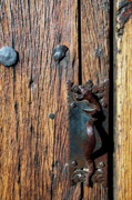 Rattlesnake Photos - Rattlesnake Door handle Mission San Xavier del Bac by Thomas R Fletcher