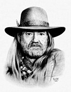 Singer Drawings - Rattlesnake Willie by Mike Roberts
