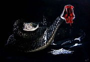 Reptiles Painting Prints - Rattlesnakes Print by Penny Golledge