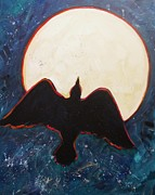 Soaring Painting Posters - Raven and Bright Moon Poster by Carol Suzanne Niebuhr