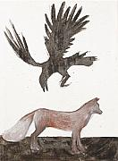 Raven And Old Fox Print by Sophy White