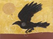 Iron Oxide Paintings - Raven and Sun 1 by Sophy White