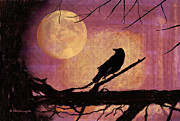 Raven And The October Moon Print by Arline Wagner