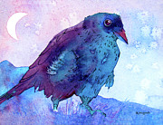 Raven Moon Prints - Raven at Dusk Print by Jo Lynch