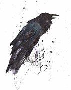 Raven  Black Bird Gothic Art Print by Alison Fennell
