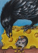 Feeding Birds Drawings Prints - Raven Cheese and Mouse Print by Christine Karron