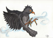 Raven Drawings Prints - Raven Print by Dave Ross