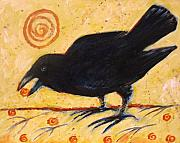 Blackbird Paintings - Raven Grazing by Carol Suzanne Niebuhr
