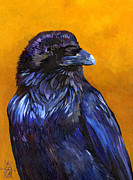 Raven Mixed Media Prints - Raven Print by J W Baker
