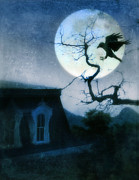 Haunted Home Framed Prints - Raven Landing on Branch in Moonlight Framed Print by Jill Battaglia