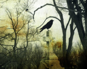 Starling Metal Prints - Raven On Cross Metal Print by Gothicolors And Crows
