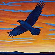 Birds Of Prey Paintings - Raven Rising by Brian  Commerford