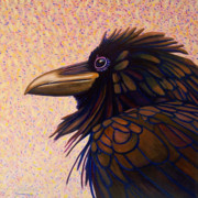 Birds Of Prey Paintings - Raven Shaman by Brian  Commerford