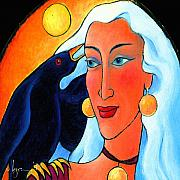 Painted Paintings - Raven Speaks by Angela Treat Lyon