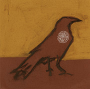 Iron Oxide Paintings - Raven with Spiral by Sophy White