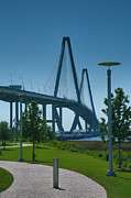 River Transportation Framed Prints - Ravenel Bridge and Memorial Waterfront Park Framed Print by Steven Ainsworth