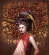 Eerie Digital Art Prints - Ravenous Pregnancy in Color Print by Ethan Harris