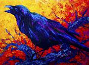 Crows Painting Posters - Ravens Echo Poster by Marion Rose