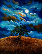 Laura Milnor Iverson Painting Originals - Ravens in a Moonlit Landscape by Laura Iverson