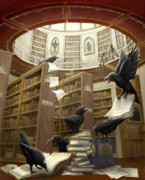 Library Posters - Ravens in the Library Poster by Rob Carlos