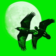 Goth Posters - Ravens of the Moon . Green Square Poster by Wingsdomain Art and Photography