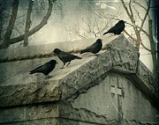 Blackbirds Posters - Ravens On A Gray Day Poster by Gothicolors And Crows