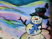 Crows Pastels - Ravens on Snowman-detail by Emily Michaud