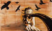 Nudity Mixed Media - Ravens Remain the Harbinger of Secrets by Iosua Tai Taeoalii