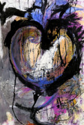 Sensitive Mixed Media Prints - Raw Naked Feelings Print by Laurie Wynne Weber